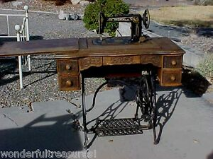Beautiful Antique Brunswick Treadle Sewing Machine Detailed Carved Wood