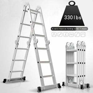 Heavy Duty Multi Purpose Aluminum Folding Extension Ladder With Locking Hinges