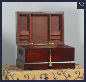Antique Victorian Colonial Campaign Teak Writing Jewellery Sewing Box C 1870