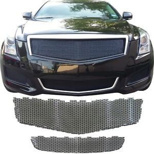 Ccg Mesh Grill For 2013 2014 Cadillac Ats Grille Top And Bottom Gloss Black
