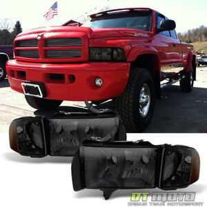Smoked 1999 2002 Dodge Ram 1500 2500 3500 Sport Headlights Corner Signal Lamps