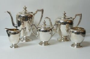 Reed Barton Sterling Silver Pointed Antique 5 Pc Coffee Tea Service