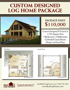Custom Log Home Package kit 1 793 Sq Ft 3 Bed 3 Bath