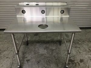 36x42 Stainless Steel Work Table With Trash Drop Hole Eagle T3642 7851