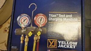 Yellow Jacket 49968 Titan 4 valve Manifold 60 Hoses Ball Valves R22 404a 410a