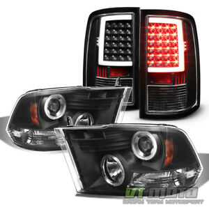 Blk 2010 2018 Dodge Ram 1500 2500 3500 Led Halo Headlights Led Tail Lights Lamps
