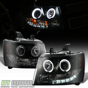 Blk Smoke 2007 2013 Chevy Suburban tahoe avalanche Led Halo Projector Headlights