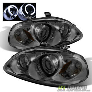 For Smoked 1996 1998 Honda Civic Led Dual Halo Projector Headlights Left Right