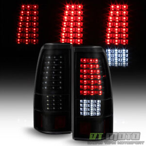 Black Smoke 1999 2006 Gmc Sierra 1999 2002 Chevy Silverado Full Led Tail Lights