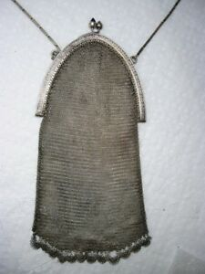Antique Victorian 935 Sterling Mesh Chain Purse Clutch Evening Bag Germany