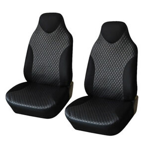 2pcs Front Seat Covers Black Sports Bucket Seat Cover Polyester Fabric Universal