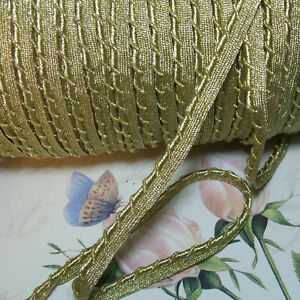 Antique Vtg Gold Metal Lip Cord Piping Edging Trim Gimp Braid Ribbon Pillow 1 2