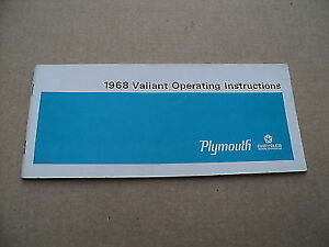 68 Plymouth Valiant Owners Manual