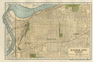 Kansas City Mo Small Street Map Plan Authentic 1903 Dated Landmarks Stations
