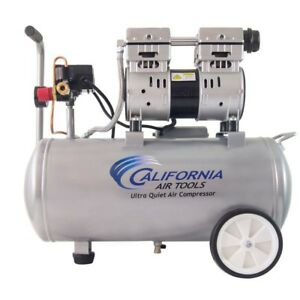 8 Gal Electric Air Compressor Steel Tank Wheels 1hp Ultra Quiet Portable 120 Psi