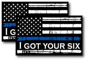 2x Reflective Thin Blue Line Decal Tattered Flag I Got Your Six Decal Var Sizes