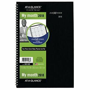 At a glance Day Minder Monthly Planner 2018 December 2017 To January 2019 Black