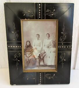 Victorian Ebonized Wood Gesso Picture Antique Aesthetic Eastlake Photo Frame