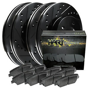 Full Kit Black Hart Drill Slot Brake Rotors Pads Ford Mustang 05 10 V6 4 0l