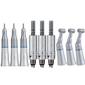 3 Dental Slow Low Speed Handpiece Straight Contra Angle Air Motor 4 Holes Nsk