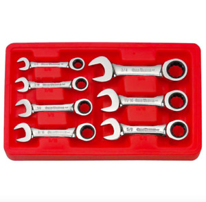 Gearwrench Sae Stubby Combination Ratcheting Wrench Set 7 Piece Tool Box End Kit