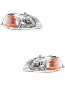 Headlights Pair Fits The Honda Civic 1996 1997 1998 2 Dr And 4 Dr Left Right