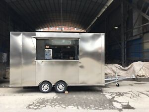 3 5m Stainless Steel Concession Stand Trailer Kitchen fryer stove Ship By Sea