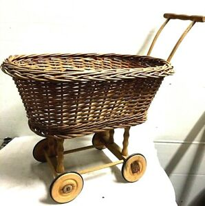 Vintage Doll Baby Carriage Buggy Baby Wicker Rattan Wood Wheels West Germany