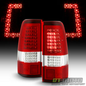 2003 2006 Chevy Silverado 1500 2500 3500 Red Clear C Strip Led Tail Lights Lamps