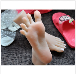 Lifelike Top Quality Silicone Girl Feet Mannequin Arbitrarily Bent posed soft Th