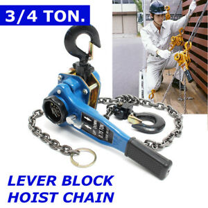 Us 3 4 Ton Lever Block Chain Hoist Ratchet Type Come Along Puller Lifter Safety