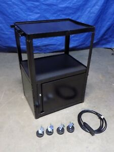 Edsal Steel Av Mobile Cabinet Cart W 15 Ft 3 outlet Power Cord 42 X 24 X 18
