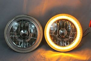 1965 1973 Ford Mustang 7 Round 6014 6015 6024 Amber Led Smd Halo Headlights