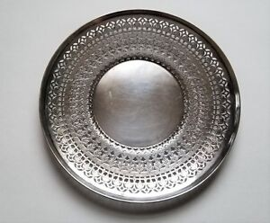 Vintage Antique Sheffield Silver Plated Reticulated Plate Tray 2709