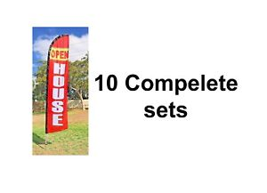 Pack Of 10 Open House Swooper Flags Complete Kit on Sale Free Shipping
