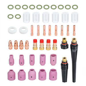49 Pcs Tig Welding Torch Gas Lens Parts 10 Pyrex Glass Cup Kit For Wp 17 18 26