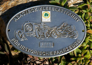 German Automobile Car Badge Adac Trefoil Rally For Historical Vehicles 2013