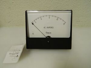 Simpson Electric Analog Ac Ammeter Panel Meter 60 Hz 0 0025 Ohms At 60 Hz 03320