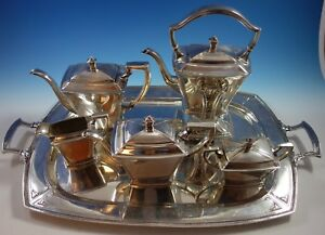 Pantheon By International Sterling Silver Tea Set 5pc With Tray 2175