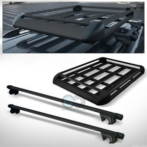 49 Blk Square Type Roof Rail Rack Cross Bar Kit cargo Carrier Luggage Basket C7