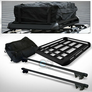 Blk Aluminum 49 Square Roof Rack Cross Bar Kit travel Basket Tray cargo Bag C02