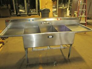 Eagle Ffn1648 3 18 3 Compartment Sink W 2 Drainboards 87 Stainless Restaurant