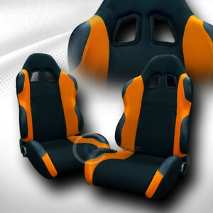 Universal Ts Black orange Cloth Leather Racing Bucket Seats W sliders Pair C01