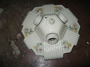 Antique 30s Vintage Art Deco Porcelain Ceiling Light Fixture Ceramic Porcelier