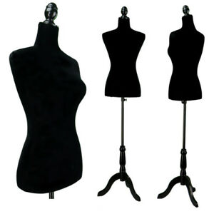 Female Mannequin Torso Display Clothing Dress Form W Black Tripod Stand Black