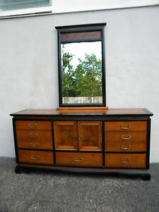 Hollywood Regency Mcm Mid Century Long Dresser And Mirror 5683