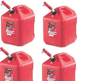 4 Ea Midwest 5600 5 Gallon Red Poly Gas Gasoline Fuel Cans W Spill Proof Spout