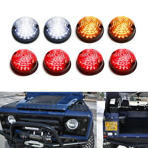 8pc Smoked Led Signal Driving Brake Light Assy Kit For Land Rover Defender 2 3