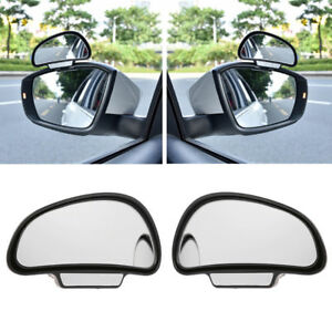 2pc Universal Car Truck Blind Spot Mirror Wide Angle Rear Side View Adjustable