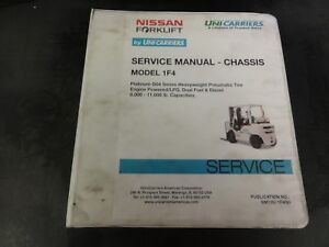 Nissan Unicarriers Forklift Model 1f4 Chassis Service Manual Sm13u 1f4g0